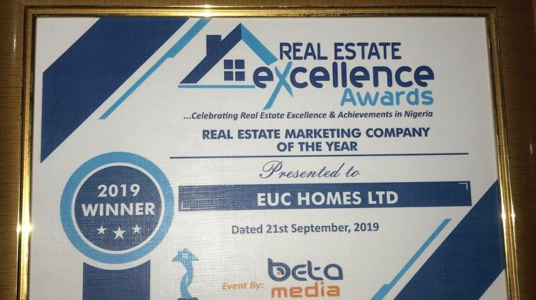 EUC Homes Limited bagged the Best Real Estate Marketing company of the year 2019